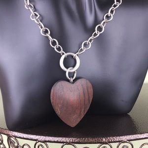 American Eagle Silver Wood Heart Pendant Necklace